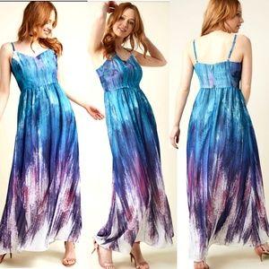 Modcloth Maxi dress Brushstroke XS teal purple